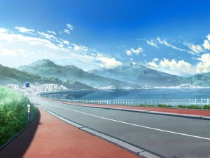 Anime Landscape Picture, Clean and Wide Road, the Blue Sky, Great in Look