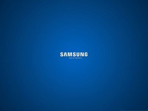 Wallpaper Computer Background, Samsung Brand on Blue Setting, Turn On Tomorrow