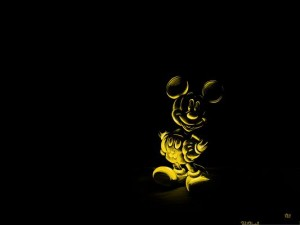 HD Wide Wallpaper, Gold Mickey Mouse, Showing Its Typical Smile