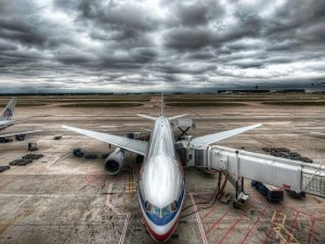 Posts of Free Airlines, a Landing Aeroplane, the Dark Sky, Looking Incredible in the Scene