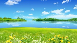 Free Download Natural Scenery Picture - The Clear Blue Sea and Sky, Incredibly Green Plants Alongside, Too Good to be True