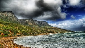 Beautiful Sceneries of Nature - The Blue Sky with Thick Clouds, the Twisting Sea, Combine an Amazing Scene