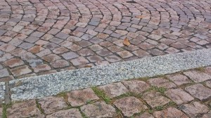 landscape photo - The Bricks Are in Good Shape and Organization, Several Fallen Leaves