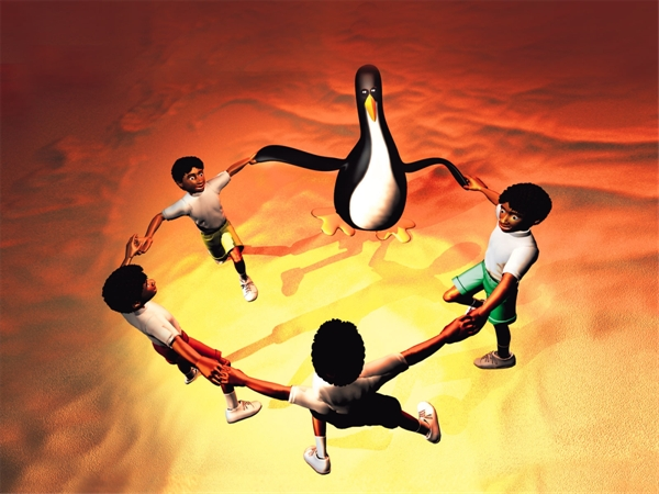 Free High Resolution 3d Cartoon Computer Wallpaper Dancing Penguin And Human 1600*1200(5)